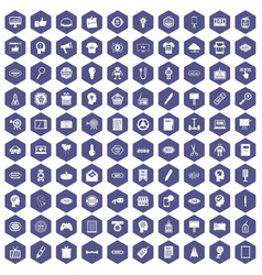 100 creative marketing icons hexagon purple vector