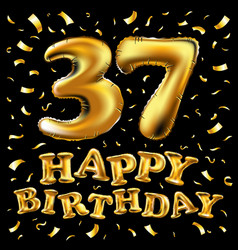 37 years anniversary logotype with elegance gold vector image