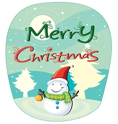 A christmas card with a snowman vector image