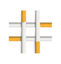 a lattice of four cigarettes a symbol of nicotine vector image