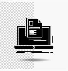 Account laptop report print resume glyph icon on vector