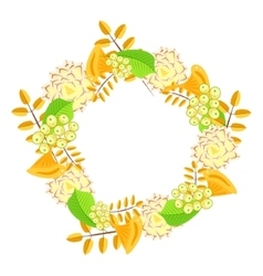 Autumn floral bouquet wreath vector