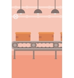Background of conveyor belt with cardboard boxes vector
