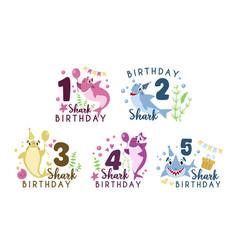 Bashark birthday party clipart vector