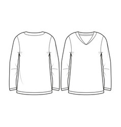 basic blank womens long-sleeved t-shirt vector image