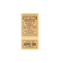 Basketball game invitation isolated retro ticket vector
