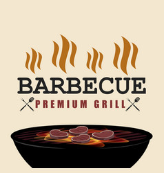 bbq premium grill banner with fire isolated vector image