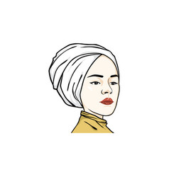 beautiful turban girl hairstyle logo vector image