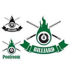 Billiard icons with crossed cues vector