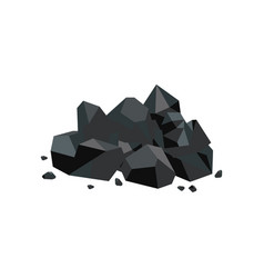 black coal lump piece fuel mine industry and vector image