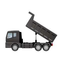 black dump truck isolated on a white background vector image