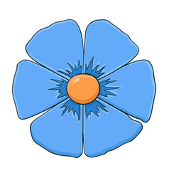 blue flower doodle style vector image