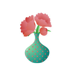 Bouquet of red poppy in dotted vase isolated on vector