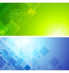 Bright green and blue tech banners vector image