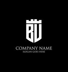 Bu initial shield logo design inspiration crown vector