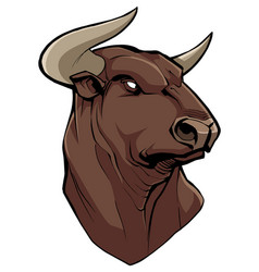 Bull head on white vector