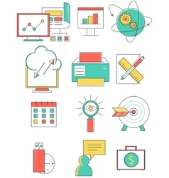 Business line icons set in flat design Web vector image