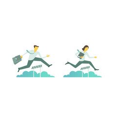 Business steeplechase man woman jumps overcoming vector
