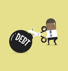 Businessman cutting debt bomb vector