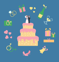 Cake with statuette groom and bride wed icons vector