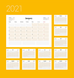 Calendar template for 2021 year business planner vector