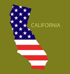 California state of america with map flag print vector