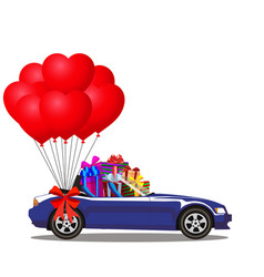Cartoon cabriolet car full of gifts and bunch of vector