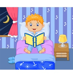 Cartoon lttle boy reading bed time story vector image