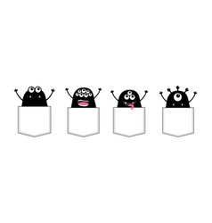 cartoon monster pocket set holding hands up black vector image