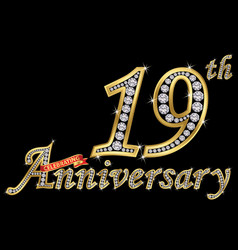 celebrating 19th anniversary golden sign vector image