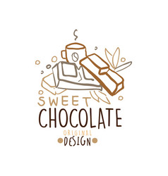 choco sweets shop hand drawn logo template design vector image