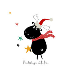 Christmas card with cute moose vector