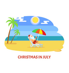 Christmas in july relaxing holiday on beach vector