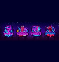 cinema night set neon sing label and logo vector image