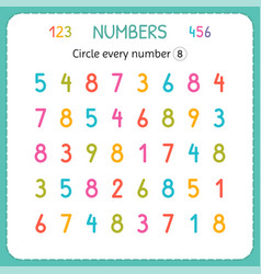 Circle every number eight numbers for kids vector