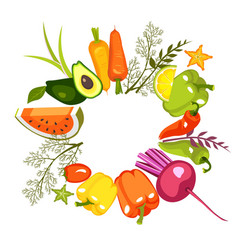 circle of vegetables vector image