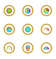circular meter icons set cartoon style vector image