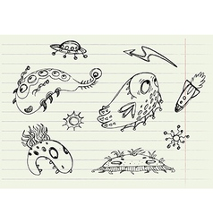 Collection of cartoon doodle monsters 1 vector