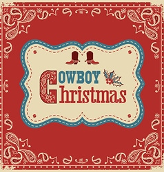 Cowboy christmas card with text on board vector
