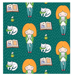 cozy seamless patterns with ginger girls and cats vector image