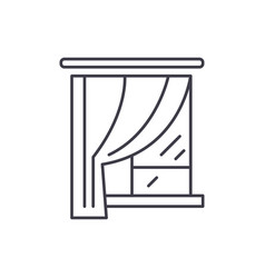curtains line icon concept curtains linear vector image