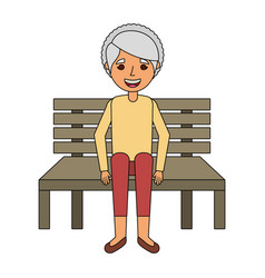 cute grandmother sitting in bench resting happy vector image