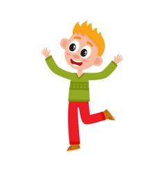 Cute happy teenage boy raising hands up in joy vector