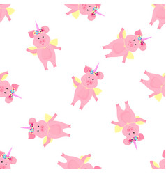 cute pig in a costume a fairytale unicorn with vector image