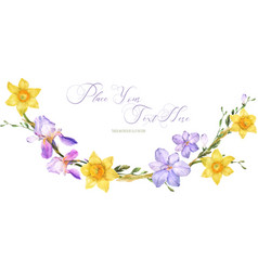 Decorative watercolor arc with spring flowers vector