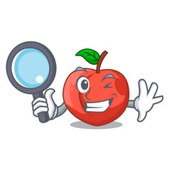 Detective nectarines cartoon with green leaves vector