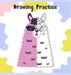 Draw other half funny llama face copy vector
