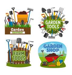 Farm and gardening tools garden shop equipment vector