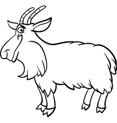 Farm goat cartoon for coloring book vector