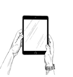 female hands holding a tablet on white background vector image